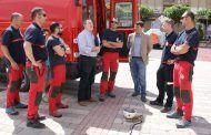 Navarro asiste a las prácticas de los bomberos de Albacete