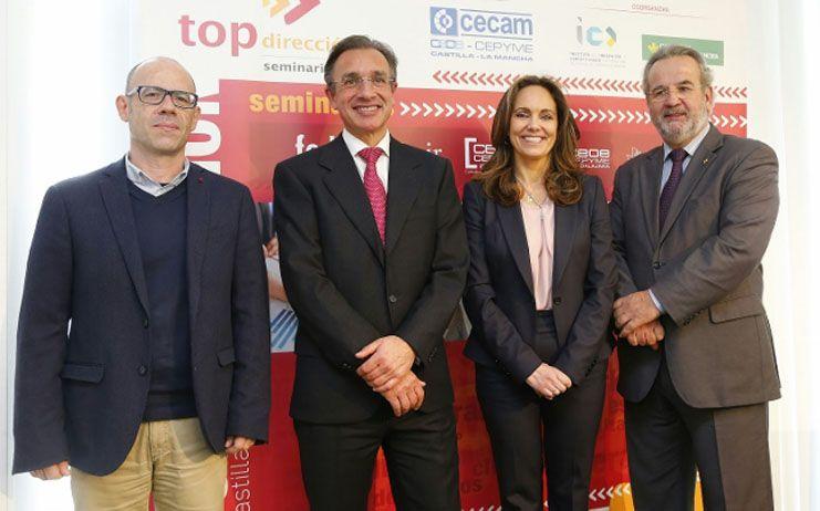 """Un centenar de empresarios asisten al seminario """"Top Dirección"""" de Fundación Caja Rural CLM y FEDA para mejorar su competitividad"""