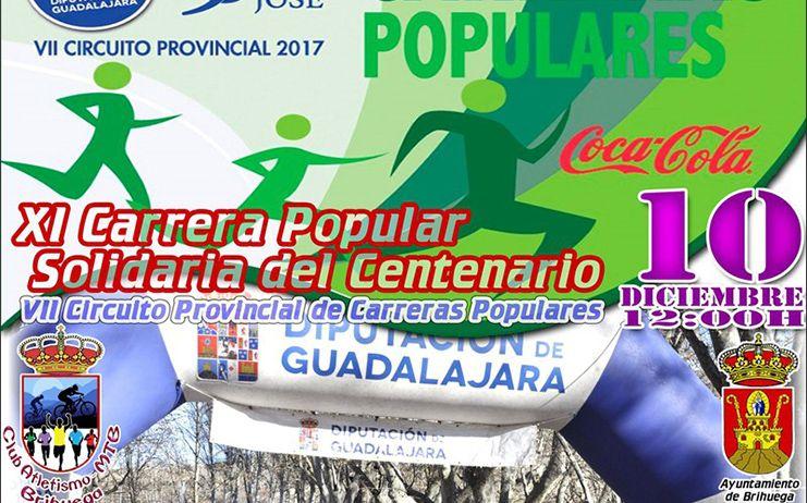 El domingo 10 se celebra en Brihuega la XI Carrera Popular Solidaria del Centenario, última prueba del VIII Circuito Diputación de Guadalajara