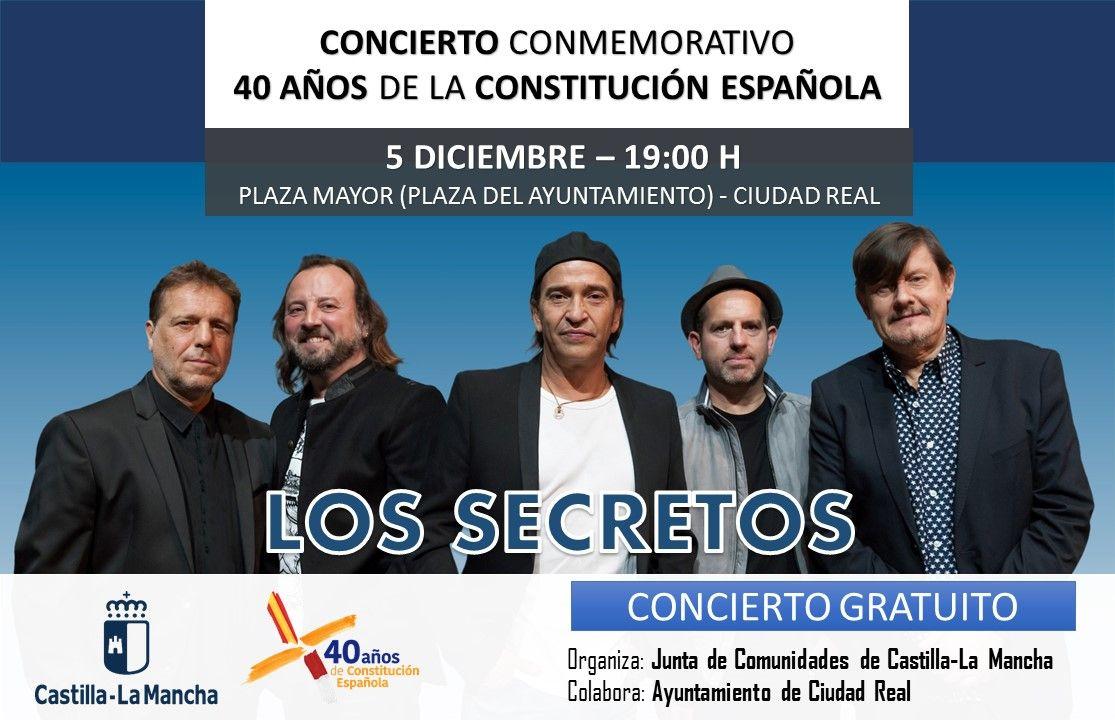 Castilla-La Mancha celebrará el próximo miércoles el 40 aniversario de la Constitución con un gran concierto de Los Secretos en Ciudad Real