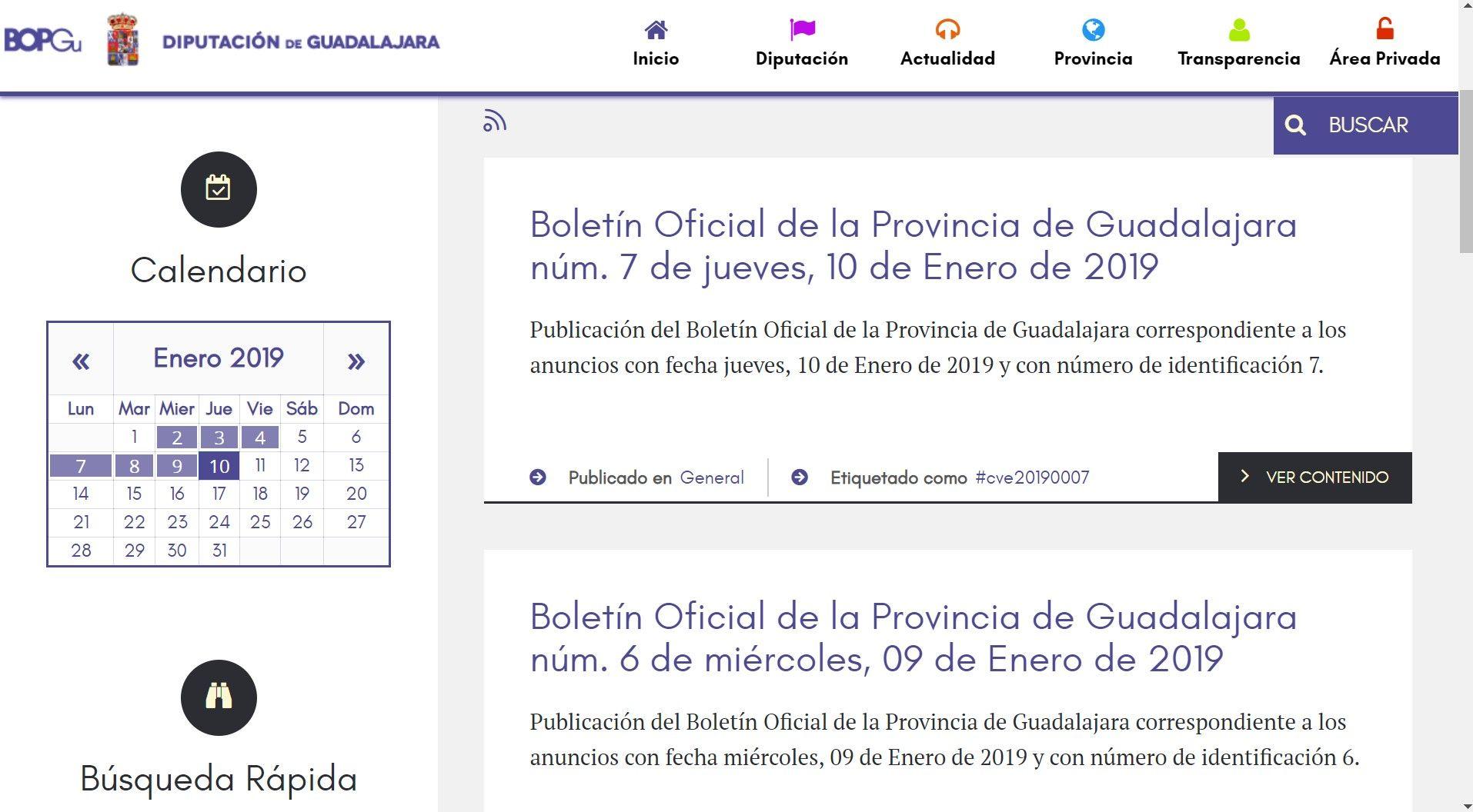 El número de usuarios del nuevo Boletín Oficial de la Provincia aumenta un 25%