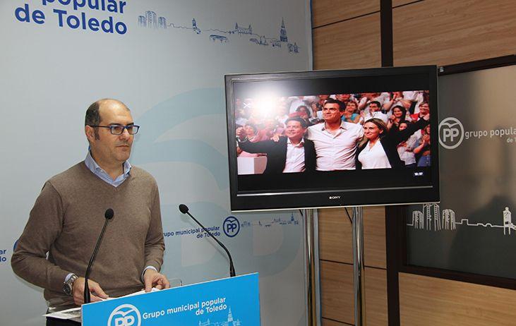 """Velasco: """"Los toledanos no quieren una alcaldesa cómplice de la traición de Sánchez a España como es Tolón"""""""