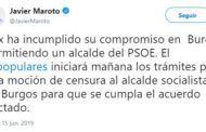 El PP anuncia una moción de censura contra el nuevo alcalde socialista de Burgos el mismo día que es elegido