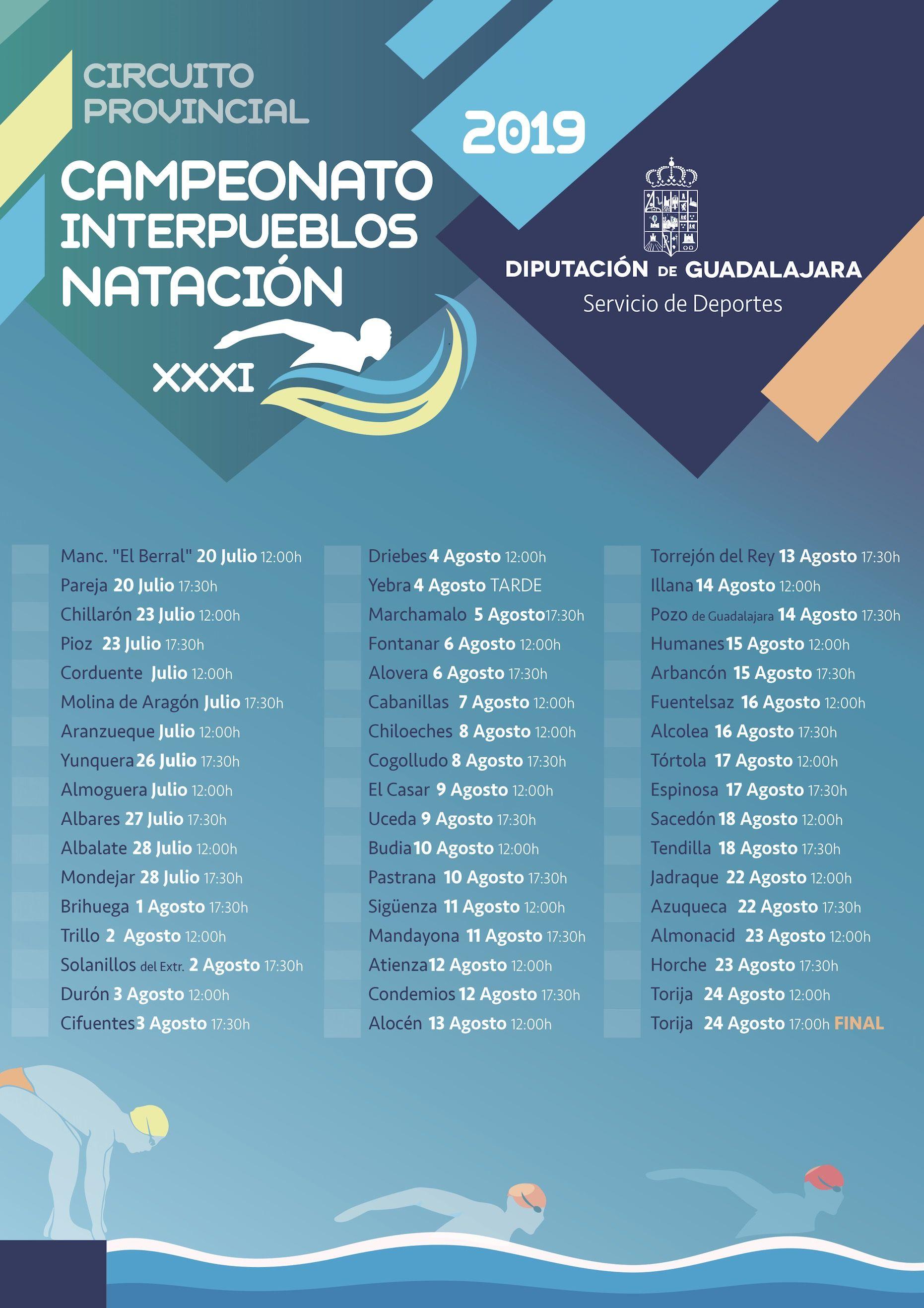 El Campeonato Interpueblos de Natación llegará este año a cincuenta municipios