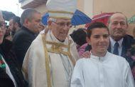 María José Gallego Ángel de Vega asisten a la colocación de la primera piedra de la restauración de la iglesia parroquial de Ontígola