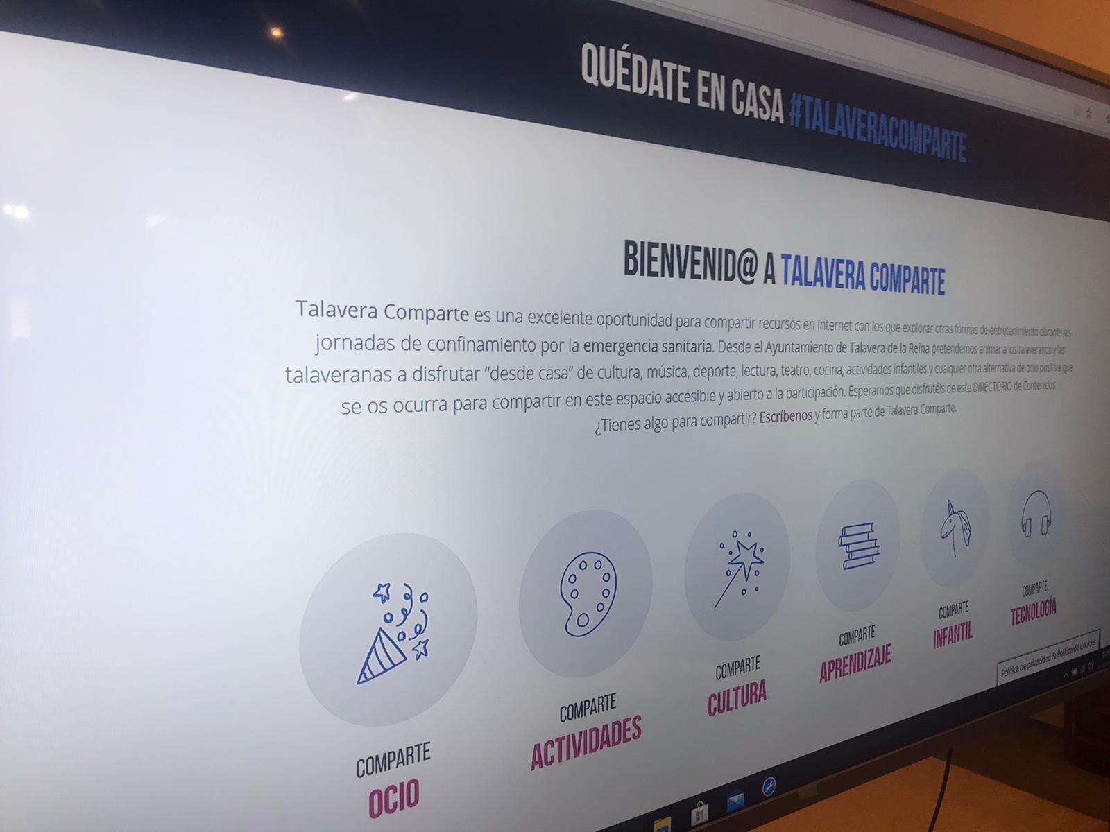 El Ayuntamiento de Talavera habilita el directorio 'Talavera Comparte' para acercar alternativas de ocio, actividades, cultura, aprendizaje, infantil y tecnología durante el confinamiento
