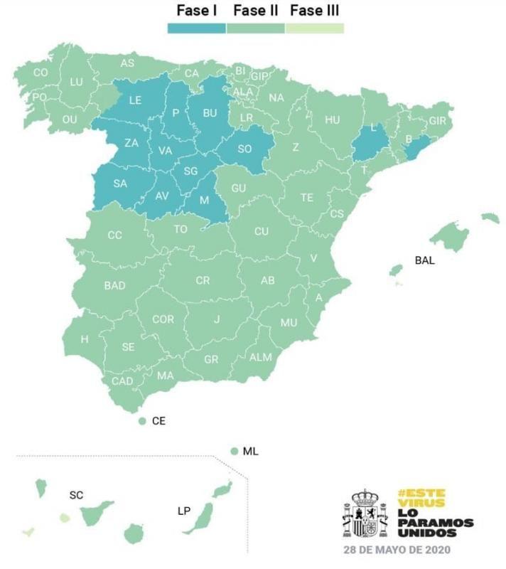 El 70% de la población española estará el lunes en la fase 2 de la desescalada