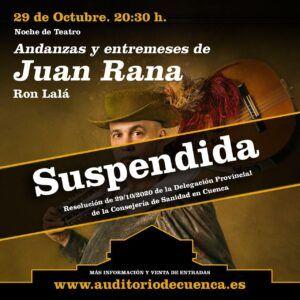 Suspendida la programación del Teatro-Auditorio desde hoy mismo según la resolución de la Consejería de Sanidad por la que Cuenca pasa a Nivel 3