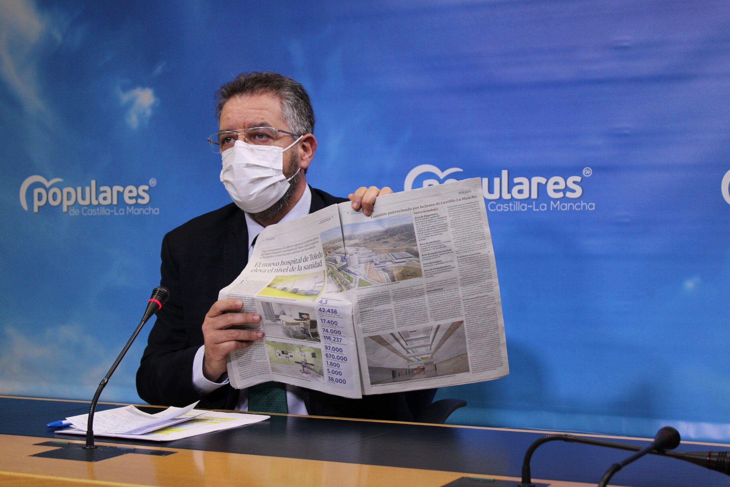 Moreno acusa a Page de ser un `irresponsable´ por hacer un `uso político´ con el nuevo Hospital de Toledo cuando la gente se está muriendo en nuestra tierra