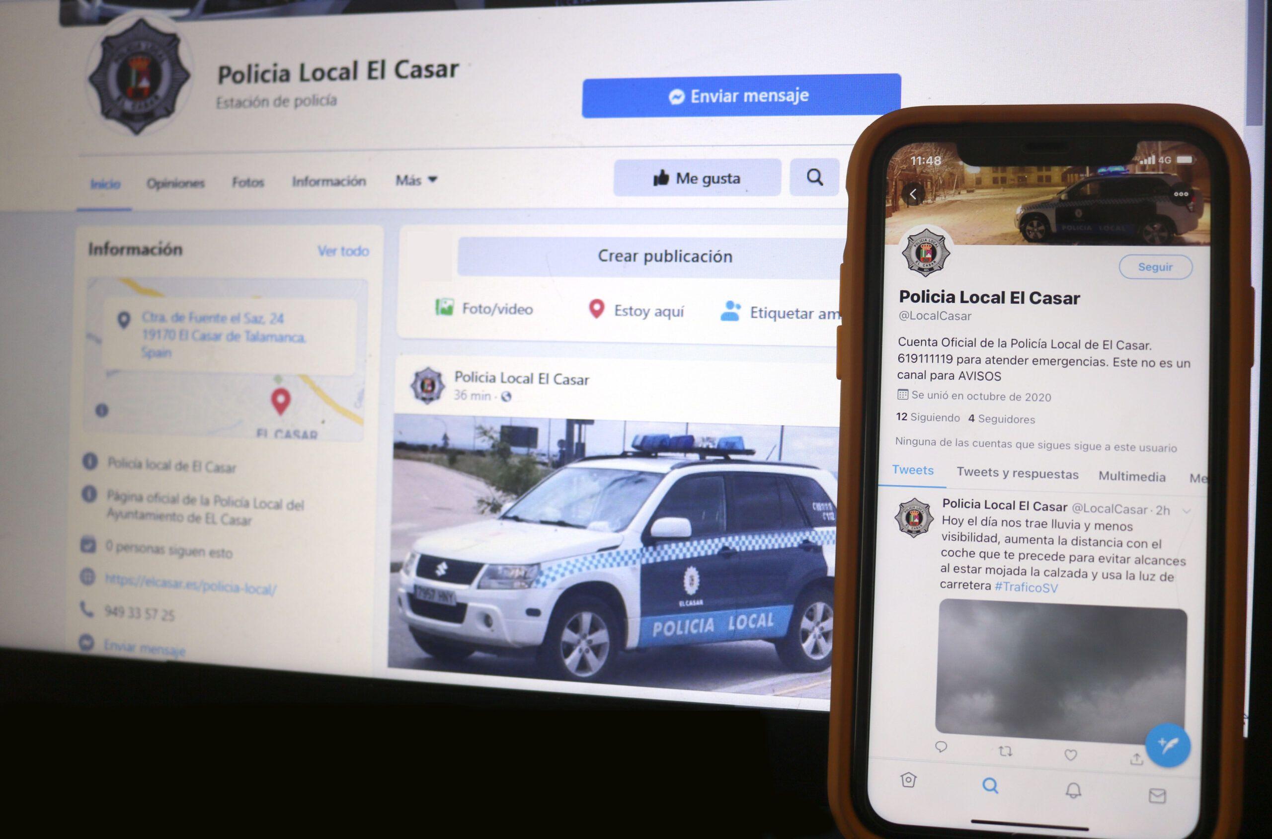 La Policía Local de El Casar abre un perfil en Twitter y Facebook para mantener informados a los vecinos de la localidad