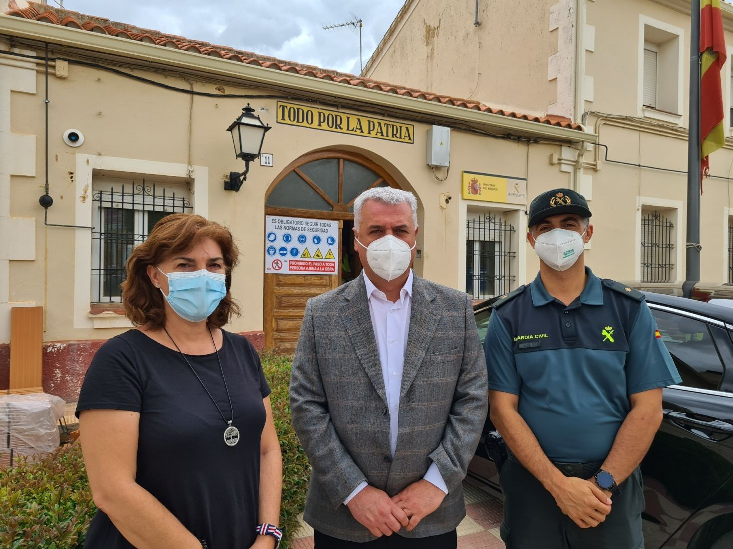 Diputación y Subdelegación comprueban el avance de las obras en el cuartel de la Guardia Civil de Mondéjar