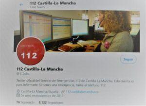 La cuenta oficial de Twitter del 1-1-2 de Castilla-La Mancha, creada para reforzar los canales de comunicación con la ciudadanía, supera los 8.000 seguidores